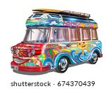retro bus with surf boards | Shutterstock .eps vector #674370439