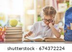 back to school  happy cute... | Shutterstock . vector #674372224