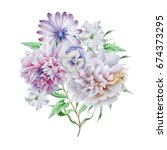 watercolor bouquet with flowers.... | Shutterstock . vector #674373295