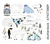 arctic clip arts set   Shutterstock .eps vector #674373889