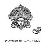 happy navratri  vector... | Shutterstock .eps vector #674374327