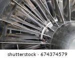 Small photo of blades of the turbo jet engine for a fighter. selective focus.