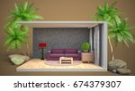 interior living room. 3d... | Shutterstock . vector #674379307
