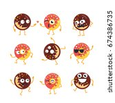 donuts cartoon character  ... | Shutterstock .eps vector #674386735