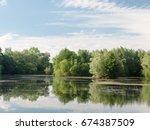 stunning a summer lake side... | Shutterstock . vector #674387509