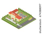 isometric school building. | Shutterstock .eps vector #674388097