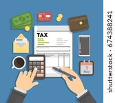 tax calculating concept. | Shutterstock .eps vector #674388241