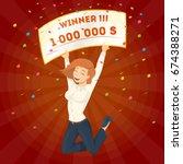 winning the lottery. | Shutterstock .eps vector #674388271