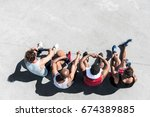 overhead view of group of...   Shutterstock . vector #674389885