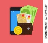 vector digital mobile wallet... | Shutterstock .eps vector #674396839