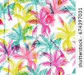 abstract colorful palm trees... | Shutterstock .eps vector #674397031