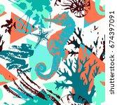 creative abstract marine... | Shutterstock .eps vector #674397091