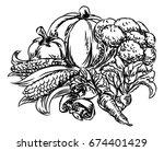 a vegetables vegetarian food...   Shutterstock . vector #674401429