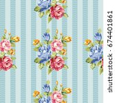 seamless floral pattern with... | Shutterstock .eps vector #674401861