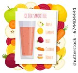 recipe for detox smoothies.... | Shutterstock .eps vector #674404441