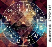 magic circle with zodiacs sign... | Shutterstock .eps vector #674404669