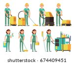 cleaner vector characters with... | Shutterstock .eps vector #674409451