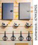 stationery objects on desk.... | Shutterstock . vector #674412931