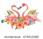 watercolor pink flamingo and... | Shutterstock . vector #674413285