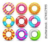 rubber swimming ring isolated... | Shutterstock .eps vector #674417995