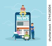online reading news. young men... | Shutterstock .eps vector #674418004