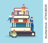 e learning concept illustration ... | Shutterstock .eps vector #674418034