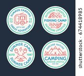 camping logo set color line... | Shutterstock .eps vector #674418985