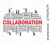 word cloud with collaboration... | Shutterstock .eps vector #674429179