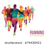 running marathon  people run ... | Shutterstock .eps vector #674430421