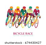 cycling race colorful... | Shutterstock .eps vector #674430427