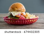 close up of cheeseburger and... | Shutterstock . vector #674432305