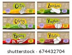 set of colorful labels sketch... | Shutterstock .eps vector #674432704