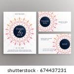 wedding invitation  rsvp and... | Shutterstock .eps vector #674437231