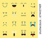 cute expression emoji on yellow ... | Shutterstock .eps vector #674437489