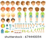 funny cartoon boy creation... | Shutterstock .eps vector #674440054