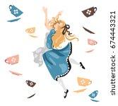 cartoon illustration  alice in... | Shutterstock .eps vector #674443321