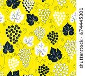 seamless grapes pattern. fruit... | Shutterstock .eps vector #674445301