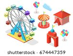 isometric flat 3d isolated... | Shutterstock .eps vector #674447359