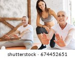attractive old female doing... | Shutterstock . vector #674452651