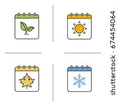 seasons calendar color icons... | Shutterstock .eps vector #674454064