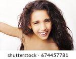 portrait of a little girl... | Shutterstock . vector #674457781