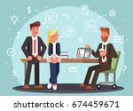 brainstorming creative team... | Shutterstock .eps vector #674459671