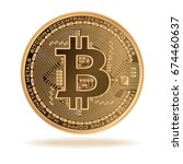 bitcoin. physical bit coin.... | Shutterstock .eps vector #674460637