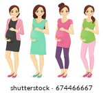 woman pregnant clothes | Shutterstock .eps vector #674466667