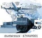 logistics transportation  ... | Shutterstock . vector #674469001