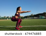 young happy sportswoman in... | Shutterstock . vector #674476885