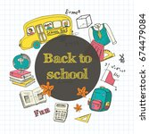 back to school flyer template   ... | Shutterstock .eps vector #674479084