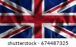 united kingdom flag painting on ... | Shutterstock . vector #674487325