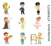 cute kids in various... | Shutterstock .eps vector #674489371