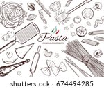 italian pasta frame. different... | Shutterstock .eps vector #674494285